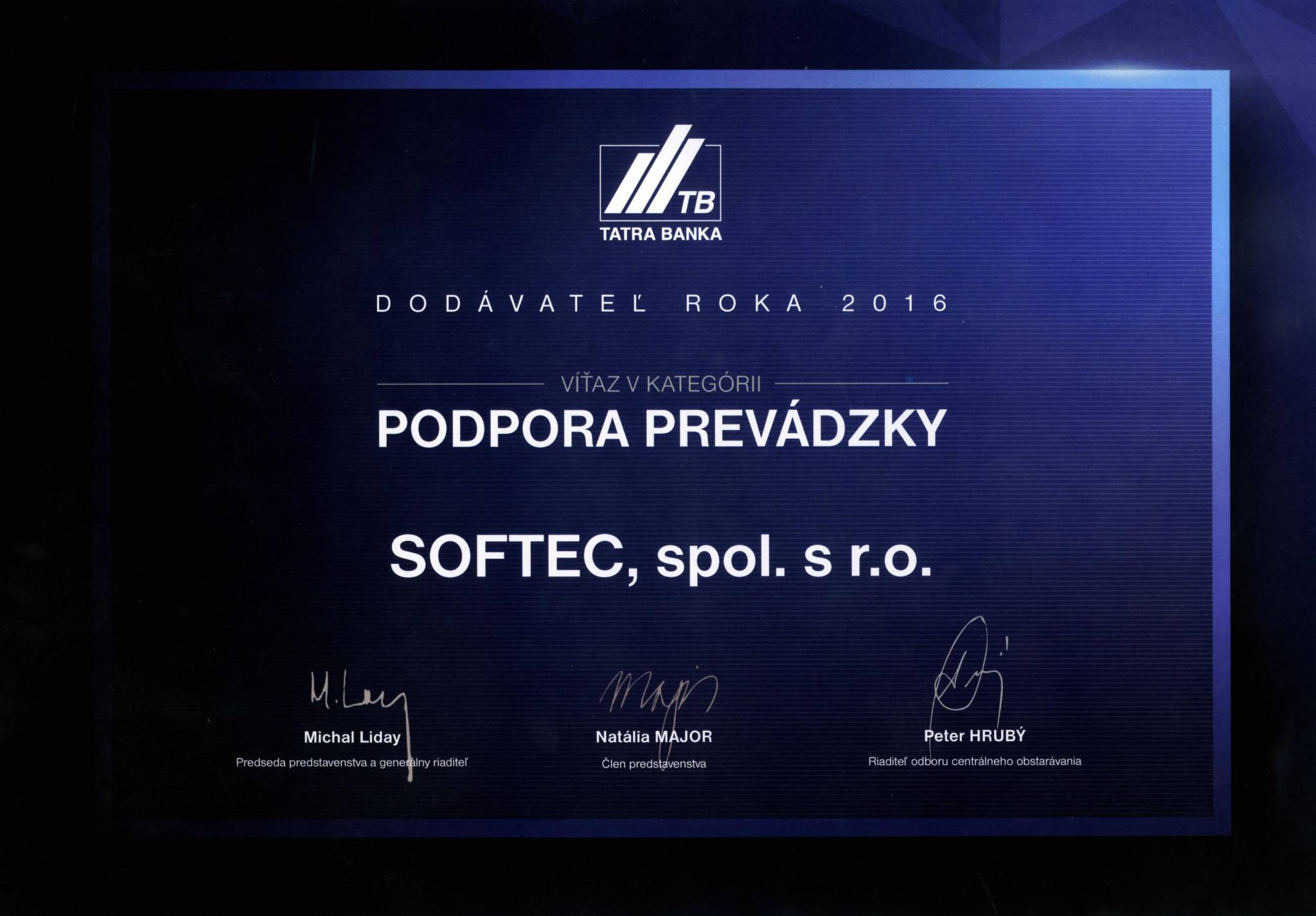 Softec_Supplier_Of_The_Year_2016_Tatrabanka